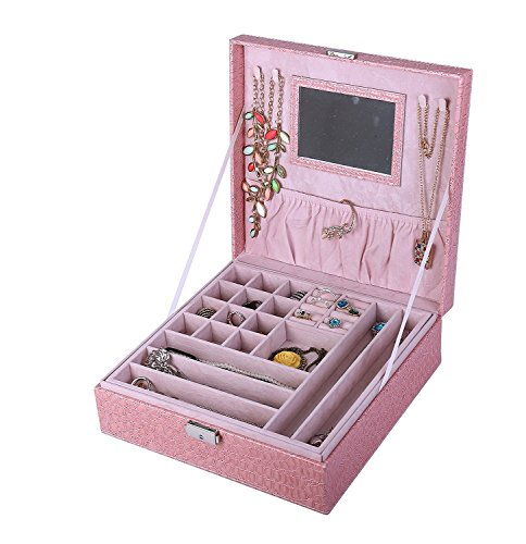 Price comparison product image KLOUD City two-layer lint jewelry box organizer display storage case with lock.Pu Leather (Pink)