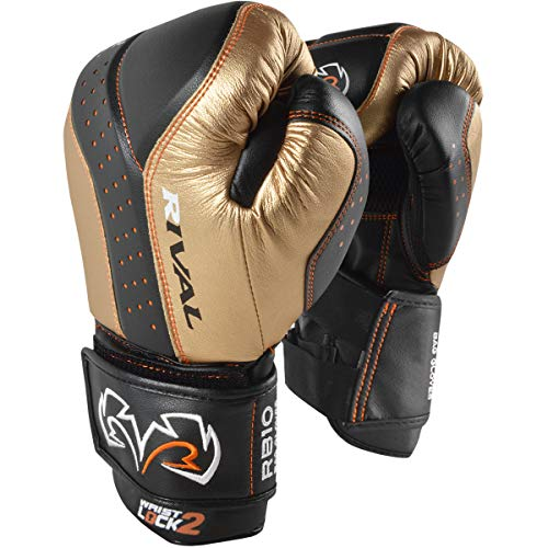 RIVAL BOXING GLOVES (RB10 INTELLI-SHOCK BAG GLOVES) (Black/Gold, - Gloves Shock Bag