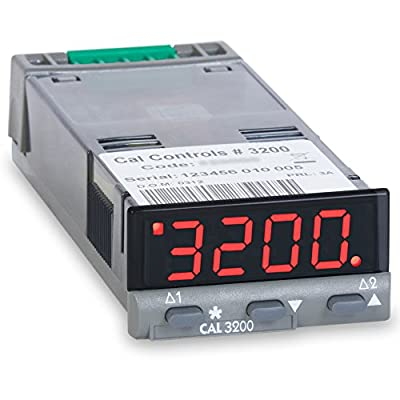 CAL Controls 32E000 CAL 3200 Series 1/32 DIN Economy Temperature Controller, 100 to 240 VAC, SSR Driver and Relay Outputs, Red LED