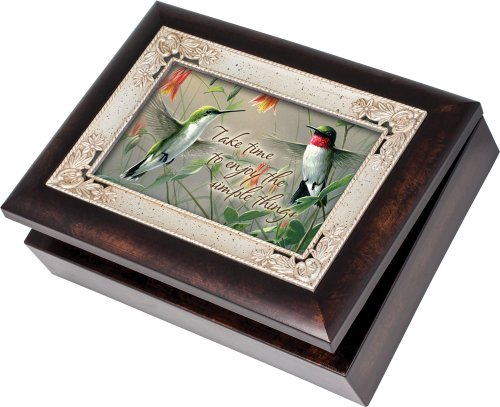 (Cottage Garden Hummingbirds Burlwood With Silver Inlay Italian Style Music Box/Jewelry Box Plays Wind Beneath My Wings)