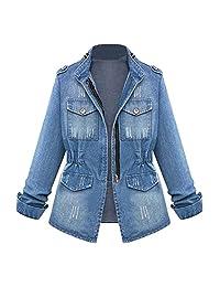 Colmkley Women Casual Denim Jacket Jeans Coat Outerwear Fashion Slim Windbreaker