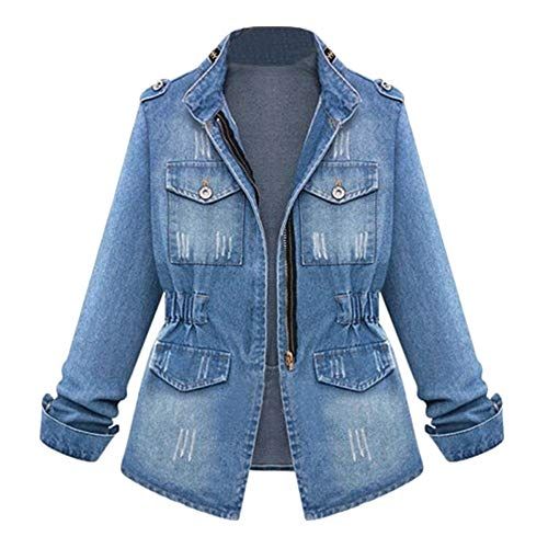 ZOMUSAR Women's Denim Jacket Casual Slim Fit Long Sleeve Loose Trucker Coat Outerwear Jeans Outercoat Windbreaker with Pockets (S, Blue)