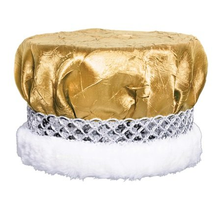 Gold Crushed Satin Crown with Silver Sequin Band and White Faux Fur Trim, 6 1/2