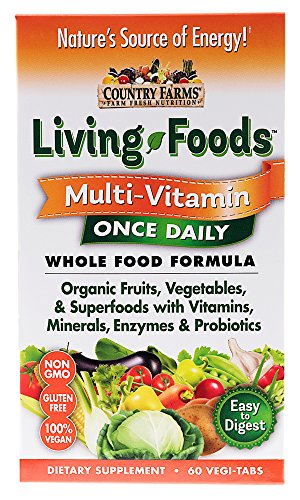 - Country Farms Livings Foods Multi-Vitamin Once Daily Wholefood Formula with Orgainic Fruits and Vegetables
