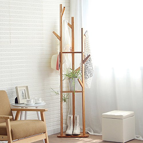 Coat rack simple bedroom corner model with simple modern solid wood home clothes clothes shelf shelves