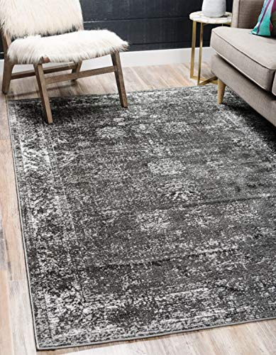 Unique Loom Sofia Traditional Area Rug, 5' 0 x 8' 0, Dark Gray - This rug is perfect for those high traffic areas in your home. It's also kid and pet friendly! This rug is water resistant, mold and mildew resistant, stain resistant, and does not shed. Cleaning Instructions: As long as it's a short-pile, indoor rug, we recommend spot cleaning with resolve, and regular vacuuming is recommended. You can use a carpet cleaner (shampooer) but it should be dried immediately and evenly. - living-room-soft-furnishings, living-room, area-rugs - 510HpxcwGML -