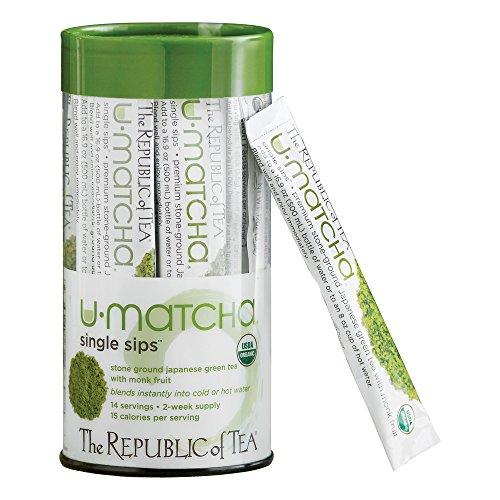 The Republic of Tea Organic U-Matcha Single Sips, Premium Instant Matcha (14 Single-Serve Packets)