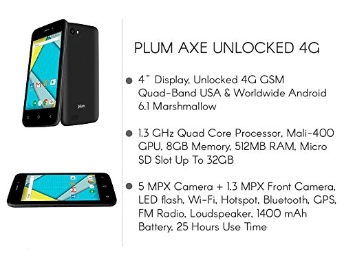 Plum Axe 4 Unlocked Smart Cell Phone 4G GSM 4'' Display Android 6.1 Quad Core 8GB Memory Dual Sim - Z407 Black by Plum (Image #3)