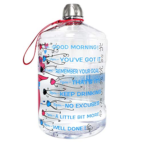 BuildLife 1 Gallon Water Bottle Motivational Fitness Workout with Time Marker |Drink More Water Daily | Clear BPA-Free | Large 128 Ounce of Water (Dream Fish, 1 Gallon)