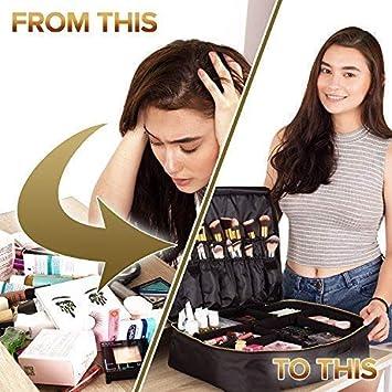 Amazon.com: Bolsa de maquillaje de viaje con espejo, se ...