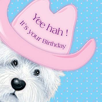 Cowboy Westie West Highland White Terrier Birthday Card Amazon