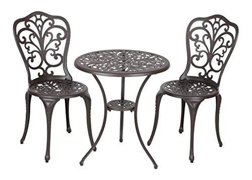 Patio Sense Faustina Antique Bronze 3 Piece Bistro Set For Sale
