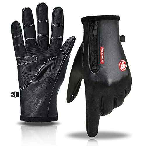 Winter Sport Gloves, RGCTL Leather Gloves with Full Finger Touchscreen and Fleece Liner for Outdoor Activities Cycling Men Women (XL)