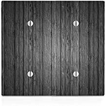 Black Wood Grey Wooden Old Vintage Background Double Blank Electrical Switch Plate