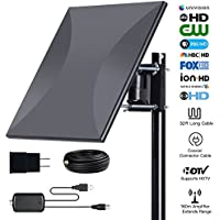 160miles Outdoor Amplified TV Antenna - AatalTV Upgrade Omni Directional HDTV Antenna with Detachable Amplifier Signal Booster Extremely High Reception for FM/VHF/UHF Channels with 32.8ft Coax Cable