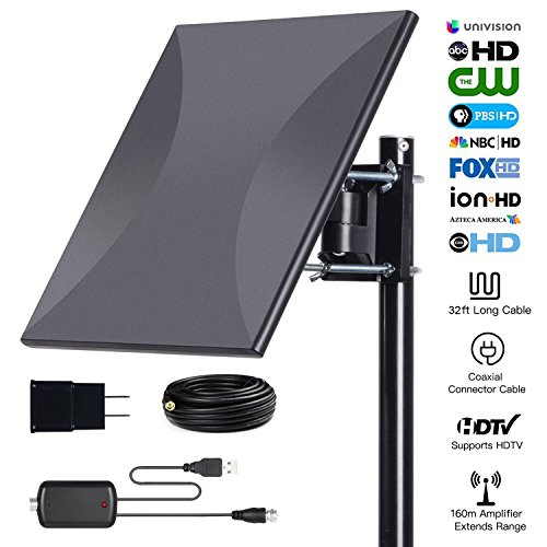 160miles Outdoor Amplified TV Antenna - AatalTV Upgrade Omni Directional HDTV Antenna with Detachable Amplifier Signal Booster Extremely High Reception for FM/VHF/UHF Channels with 32.8ft Coax (Hdtv Signal Booster)