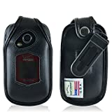 Turtleback Fitted Case for Kyocera DuraXV Plus Flip Phone Black Leather Rotating Removable Belt Clip - Made in USA
