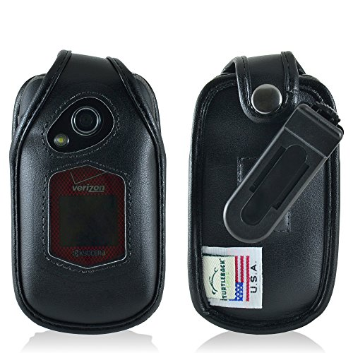 - Turtleback Fitted Case for Kyocera DuraXV Plus Flip Phone Black Leather Rotating Removable Belt Clip - Made in USA