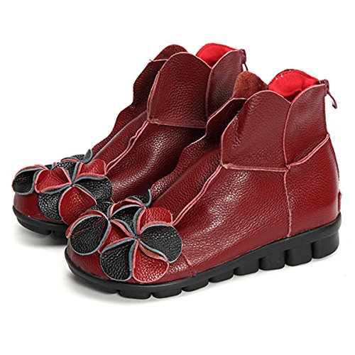 Socofy Damen Kurzschaft Stiefel, Klassische Ankle Boot Blume Boots Kurz Stiefel Handmade Anit-Rutsch Lederschuhe Leicht Bequem (Hersteller-Größentabelle IM Bild Beachten) Rot 2 mit Fell