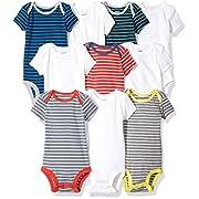 Carter's Baby Boys' 10-Pack Short-Sleeve Bodysuits, Stripe/White, 6 Months