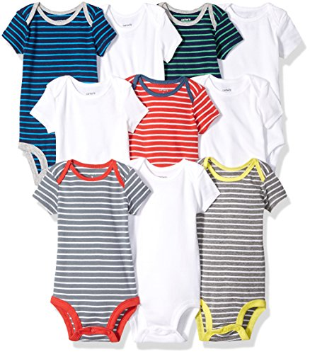 Carter's Baby Boys' 10-Pack Short-Sleeve Bodysuits, Stripe/White, 3 Months (Onesie Striped Bodysuit)