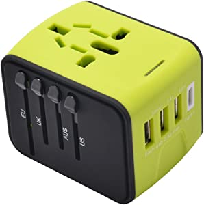 Universal All in One Worldwide Travel Adapter, High Speed 2.4A USB, 3.0A USB Type-C Wall Charger,European Adapter, Worldwide AC Outlet Plugs for Europe, UK, US, AU, Asia(Green)