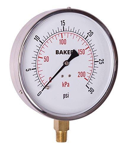 Baker Instruments AVND Series Stainless Steel Dual Scale Pressure Gauge, 0 to 30 psi / kPa, 4.5