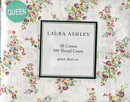 - Laura Ashley Tilly Pink Floral 4-Piece Queen Size Sheet Set