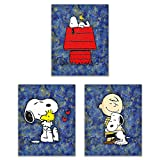 vintage peanuts - Snoopy Starry Night - The Peanuts Gang Art Prints - On the Doghouse, With Friends Woodstock and Charlie Brown - Our Classic Animation Kids Wall Decor Deluxe Poster Collection - Set of 3 8x10 Photos