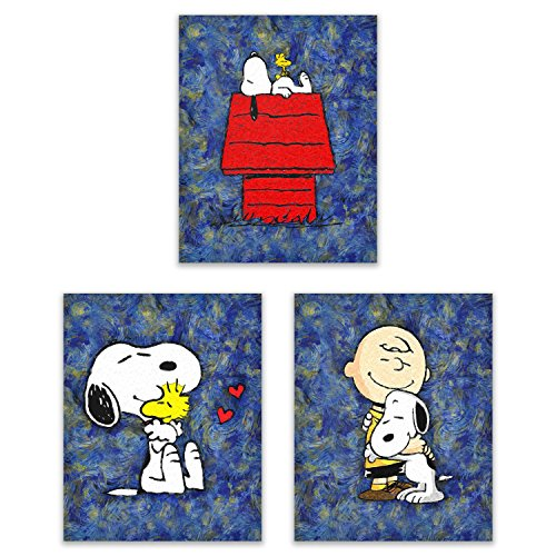 Print Charming Dog (Snoopy Starry Night - The Peanuts Gang Art Prints - On the Doghouse, With Friends Woodstock and Charlie Brown - Our Classic Animation Kids Wall Decor Deluxe Poster Collection - Set of 3 8x10 Photos)