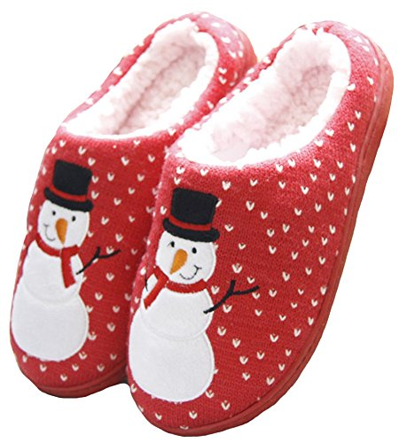 Shoes HW and Mens Womens Couple House GOODS Red Print Snowman Slippers Winter rrFfxvqnR