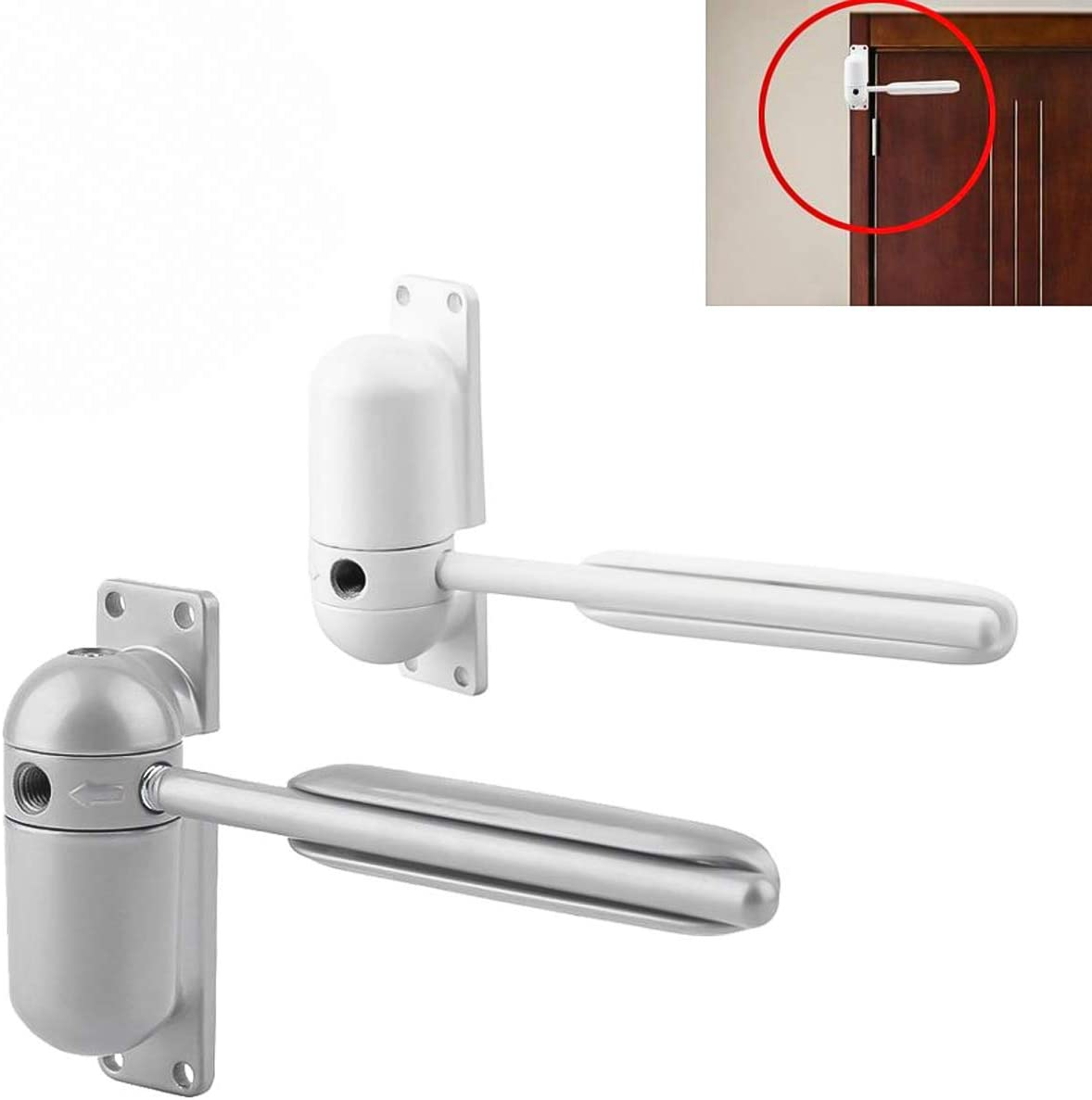 DERCLIVE Adjustable Durable Door Closer Surface Mounted Automatic Door Spring Loaded for Auto Closing