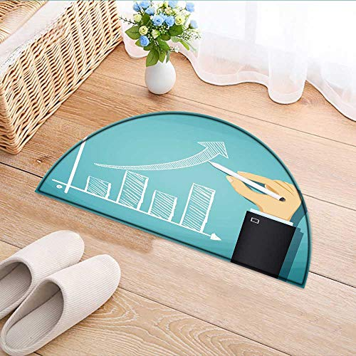 Rug Chart Growth (Semicircle Rugs for Bedroom Human Drawn Growth Chart Success in Cartoon Circle Rugs for Living Room W39 x H28 INCH)