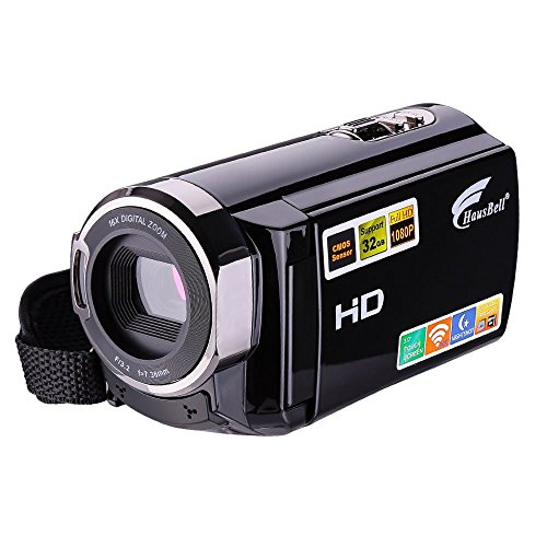 Camcorder, Hausbell HDV-5053 FHD Wi-Fi Digital Video Camera, HDMI 1920x1080p 16X Digital Active Zoom Infrared Night Vision Touch Screen Camcorder with 2 Batteries (Black)