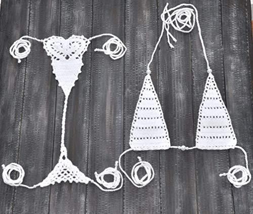 Extreme Micro bikini Handmade Crochet Thong set Made to order Erotic Bikini Cheeky Thong Dancewear Swimsuit Bathing Suits