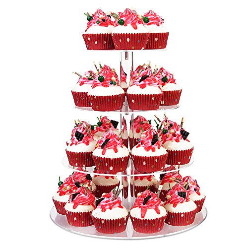 YestBuy Tabletop Clear 4 Tier Acrylic Cupcake Stand (THIN) (4 Tier Round)