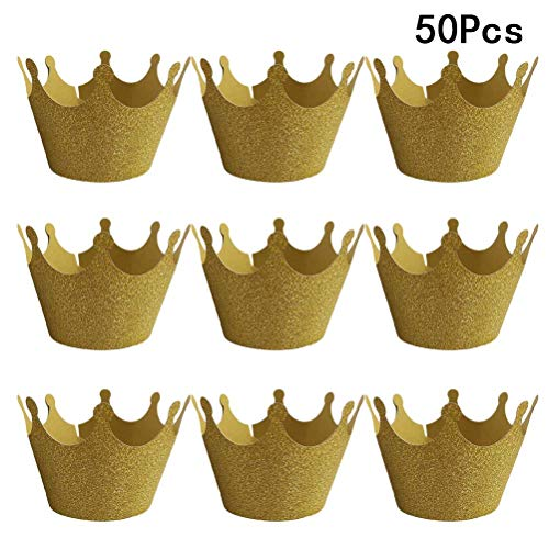 - BESTONZON 50 Pcs Crown Cupcake Wrappers/Cake Paper Cups/Baking Cup Muffin Case Trays,for Wedding Party Birthday Decoration (Golden)