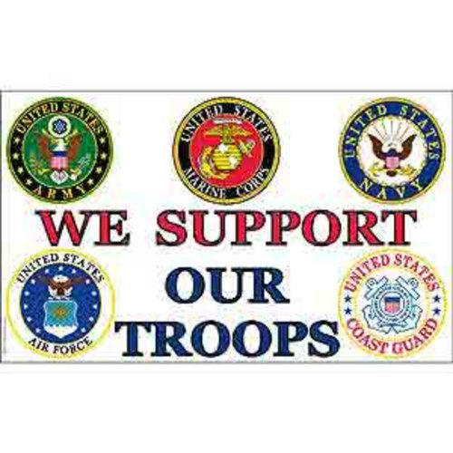 FindingKing We Support Our Troops Flag with Grommets 3ft x 5