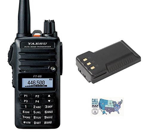 Radio and Accessory Bundle - 3 Items - Includes Yaesu FT-65R 5W VHF/UHF Dualband Handheld Transceiver, 2500mAh High-Capacity Battery and Ham Guides TM Quick Reference Card