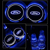 ford usb - Auto sport 2PCS LED Cup Holder Mat Pad Coaster with USB Rechargeable Interior Decoration Light (ford)