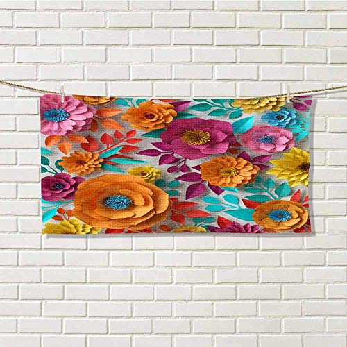 wwwhsl Distinctive Towel Digital Illustration Colorful Paper Flowers Wallpaper Spring Summer Background Floral Bouquet Isolated on White Vibrant Colors Family, Friends Like W14xL28 Inch ()