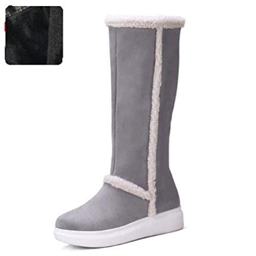 16d25c8f0 Botas para La Nieve De Invierno FríO Mujeres Piel Caliente Mujeres Adentro  Gruesa Plataforma Zapatos Calzado Alta hasta La Rodilla Plana Superior  ...