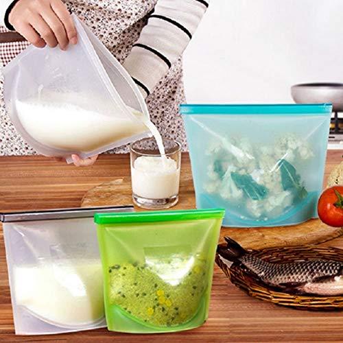 HETASH® Reusable Silicone Food Storage Bag,Microwave Dishwasher Freezer Oven Safe Food Preservation Airtight Seal…