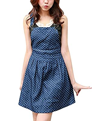 Allegra K Women's Dots Pattern Adjustable Shoulder Straps Mini Overall Dress