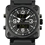 INFANTRY Big Face Mens Tactical Military Watch Large Black Sport Wrist Watches for Men Silicone Band