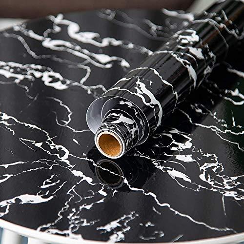 Fantasnight Marmol Vinilos para Muebles Papel Adhesivo 40×300cm Negro Vinilo Marmol para Encimeras de Cocina, Mesas, Superficies de Gabinetes, Paredes