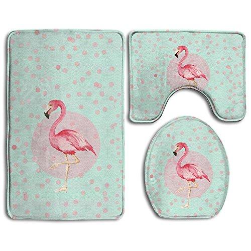 Bath Mat,3 Piece Bathroom Rug Set,Pink Flamingo Flannel Non Slip Toilet Seat Cover Set,Large Contour Mat,Lid Cover For Men/Women