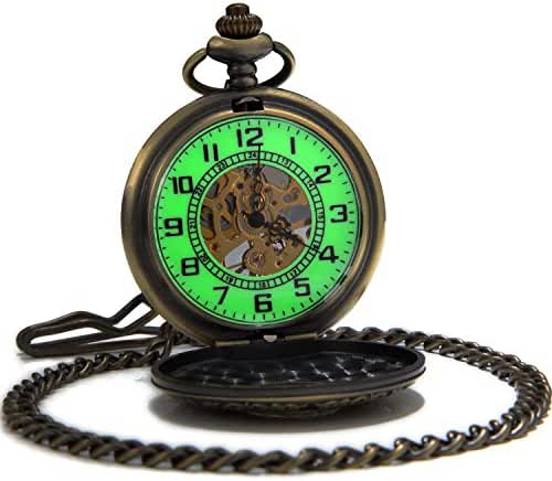SEWOR Vintage Bronze Flower Mens Pocket Watch Luminous Case Mechanical hand wind