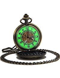 SEWOR Vintage Bronze Flower Mens Pocket Watch Luminous Case Mechanical hand wind C131