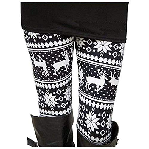 Uaderize Womens Ultra Soft Brushed Christmas Leggings Pants Reindeer Black and White S (Day Christmas Outfits Cute)